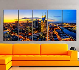 "BoxColors - XLARGE 30""x 70"" 5 Panels 30""x14"" Ea Art Canvas Print Nashville Skyline Downtown night Multicolor Wall Home office decor interior (framed 1.5"" depth)"