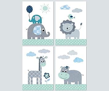 Kinderzimmer Babyzimmer Deko Mädchen Junge Poster Set 4x Din A4