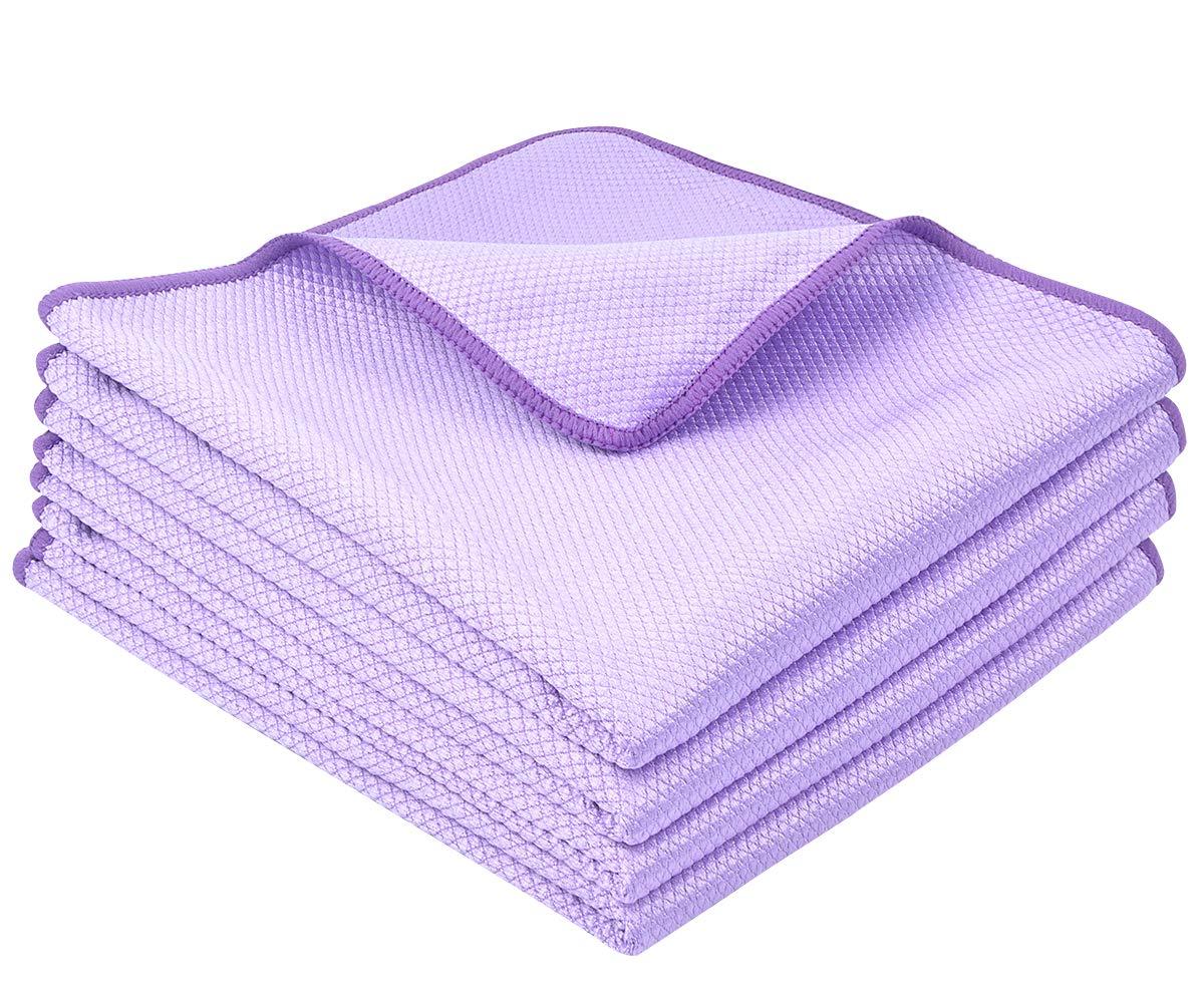 VIVOTE マイクロファイバークリーニングクロス 16インチ×16インチ 窓ガラス用掃除用ステンレススチールポリッシング 家庭用ワイプ 布 16inch x 16inch パープル VVCX15057 B07KSS7XJC Purple x4 16inch x 16inch