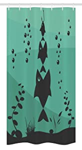 Ambesonne Fishing Decor Stall Shower Curtain, Big Fish Eats Little Small in Bubbles Underwater Ocean Symbolic Icons Theme, Fabric Bathroom Decor Set with Hooks, 36 W x 72 L Inches, Teal Grey