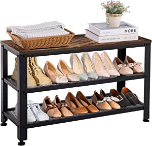 APICIZON Shoe Bench, Metal Shoe Rack Bench with 2 Mesh Shelves, Industrial Storage Bench for Entryway, Hallway, Mudroom, Rustic Brown, 31.5 Inch