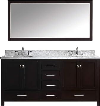 Virtu Usa Gd 50072 Wmsq Es Caroline Avenue 72 Double Bathroom Vanity With Marble Top And Square Sink And Mirror Dark Espresso Amazon Com