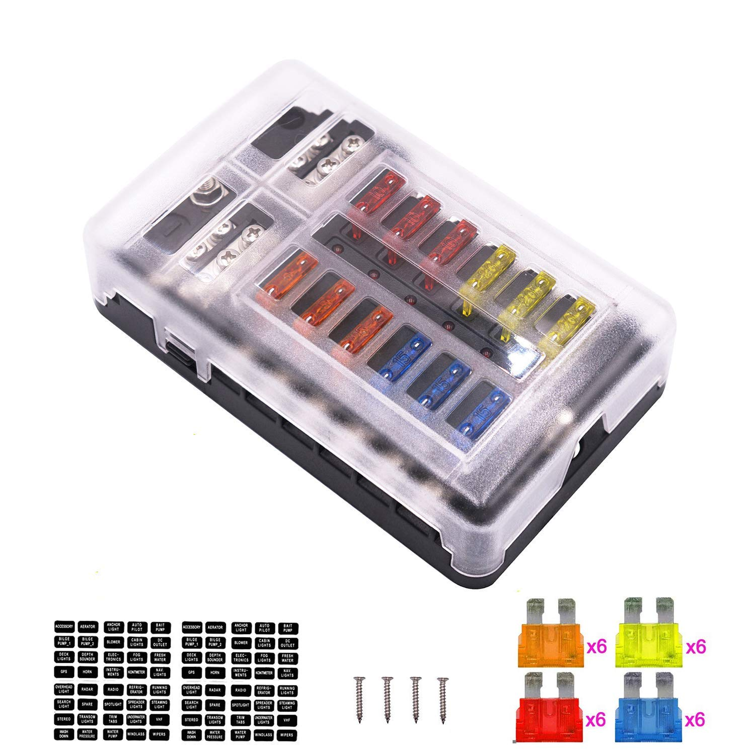 bus fuse box amazon com 12 way fuse box blade fuse block holder screw nut bus bar fuse box 12 way fuse box blade fuse block holder