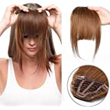 Extensiones de Clip de Pelo Flequillo Cabello Natural 100% Remy Hair Flequillo Postizo para Mujeres