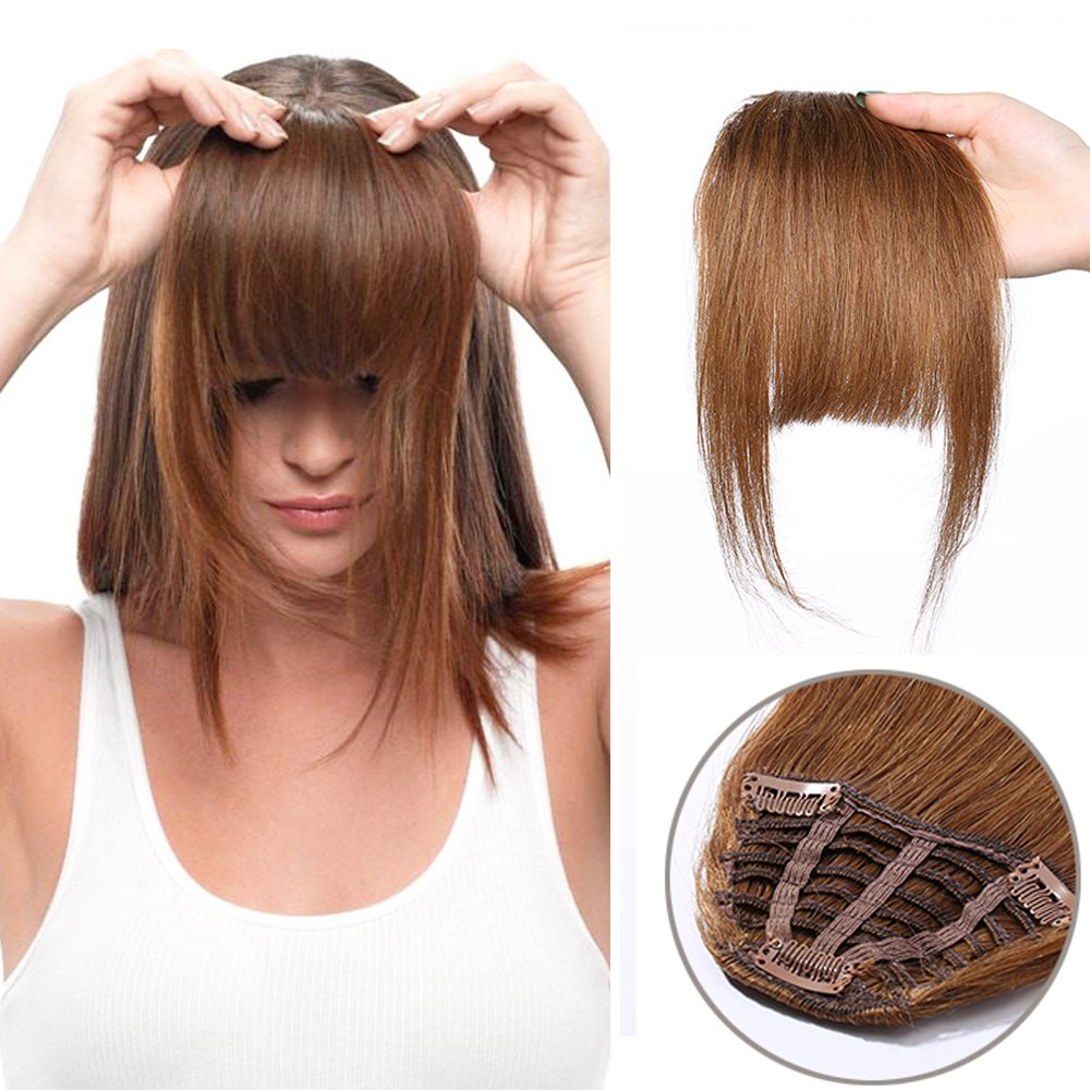 Human Hair Clip In Fringe Bangs Invisible Front Hair Extensions