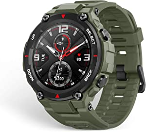 Amazfit T-Rex Smartwatch, Military Standard Certified, Tough Body, GPS, 20-Day Battery Life, 1.3'' AMOLED Display, Water Resistant, 14-Sports Modes, Army Green