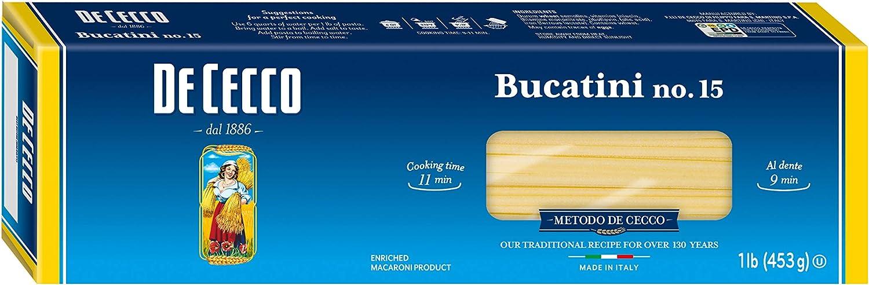 De Cecco Semolina Pasta, Bucatini No.15, 1 Pound (Pack of 5)