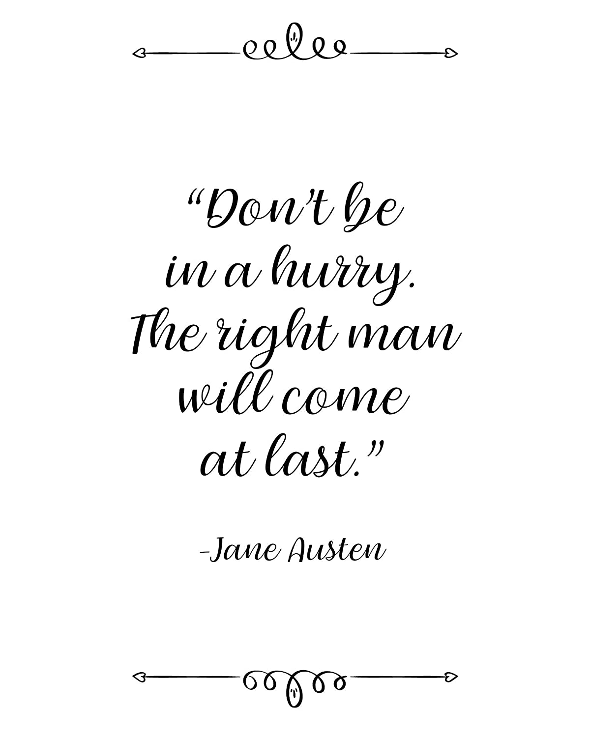 com jane austen don t be in a hurry quote wall art