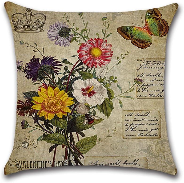 Decorativa almohada Vintage Rose flores primavera impresi/ón Impreso Sof/á Decoraci/ón Coj/ín Caso agarre Bar Funda de almohada coj/ín de m/óvil Sal/ón Briefmarken