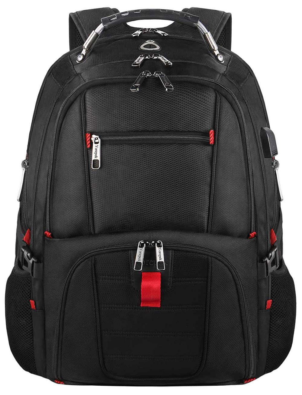 Extra Large College School Backpack for Men and Women with USB Charging Port,TSA Friendly Water Resistant Computer Backpacks Fit 17 Inch Laptops,Black YOREPEK Travel Laptop Backpack