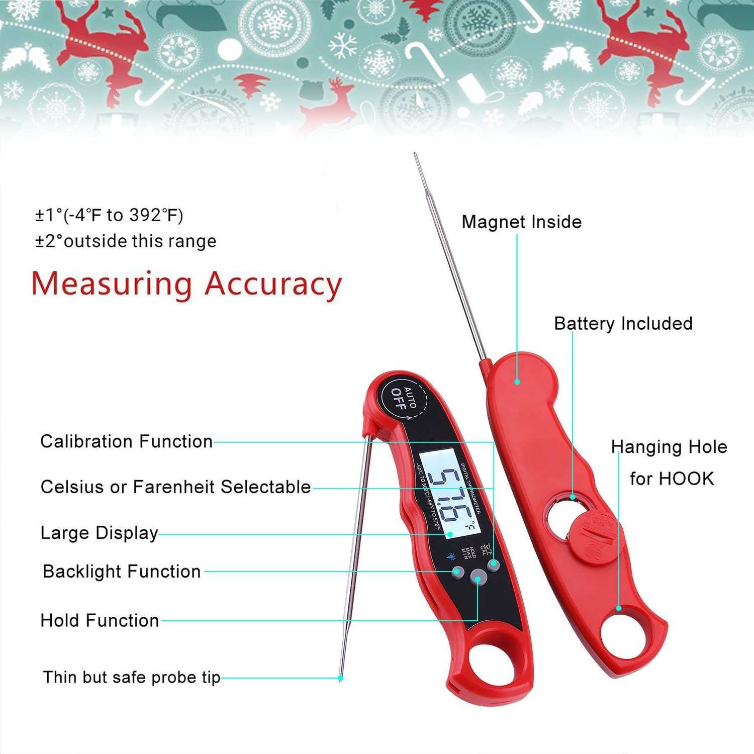 Red Szaerfa Digital Waterproof Meat Thermometer Instant Read With Probe /& Blacklight for Grilling BBQ Water Milk Bathing