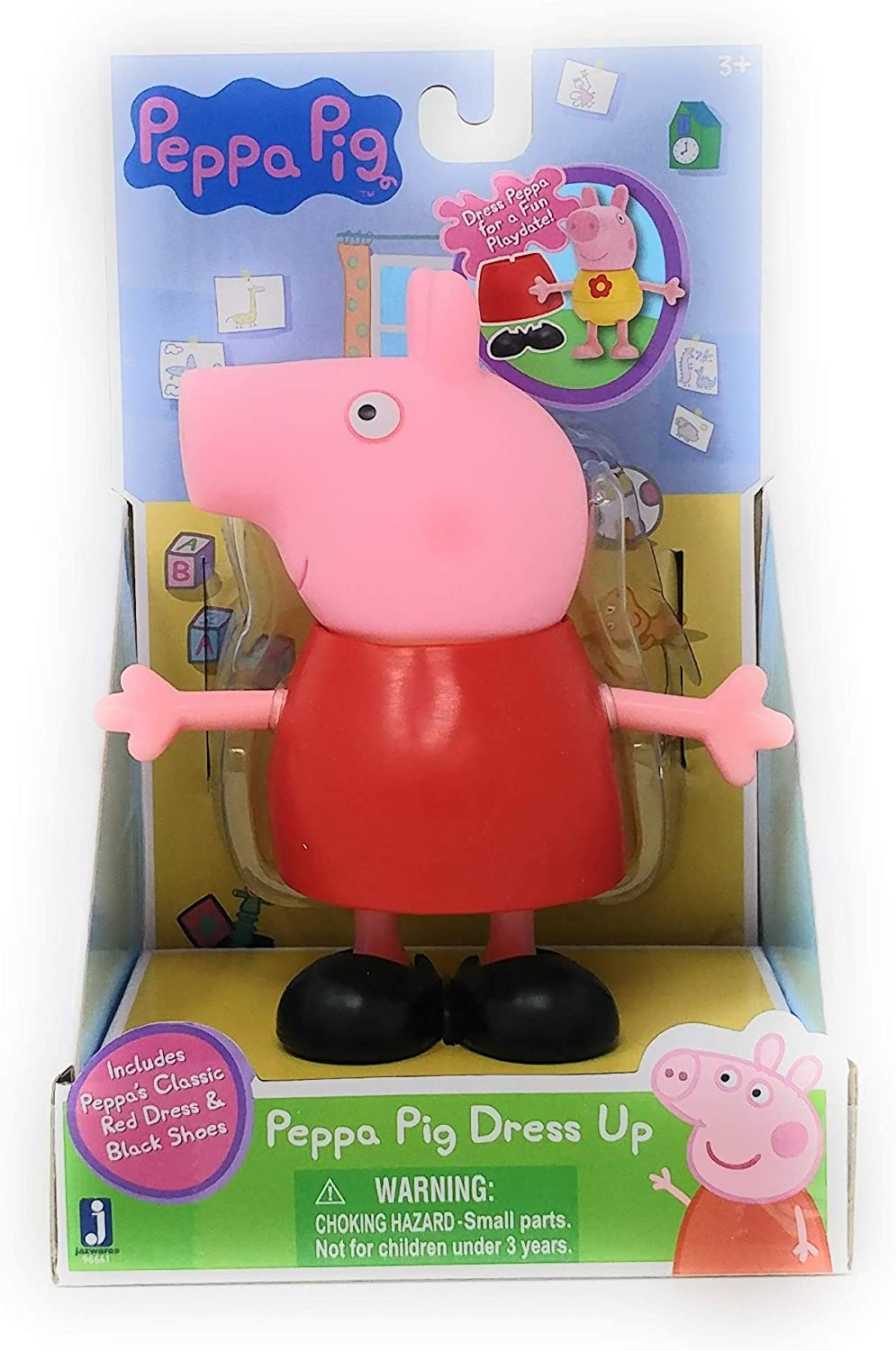 Includes Peppas Classic Red Dress /& Black Shoes Jazwares Dress Peppa for a Fun Playdate Peppa Pig Dress UP
