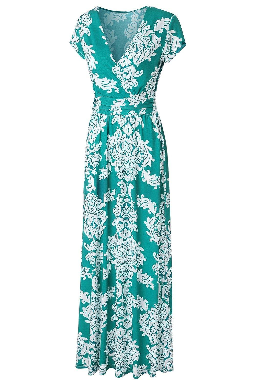 Kranda Womens Striped V Neck Empire Waist Chevron Maxi Long Dress at ...