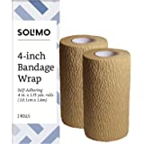 "Amazon Brand - Solimo Self-Adhering Bandage, 4"" x 5' Roll (2 Pack)"