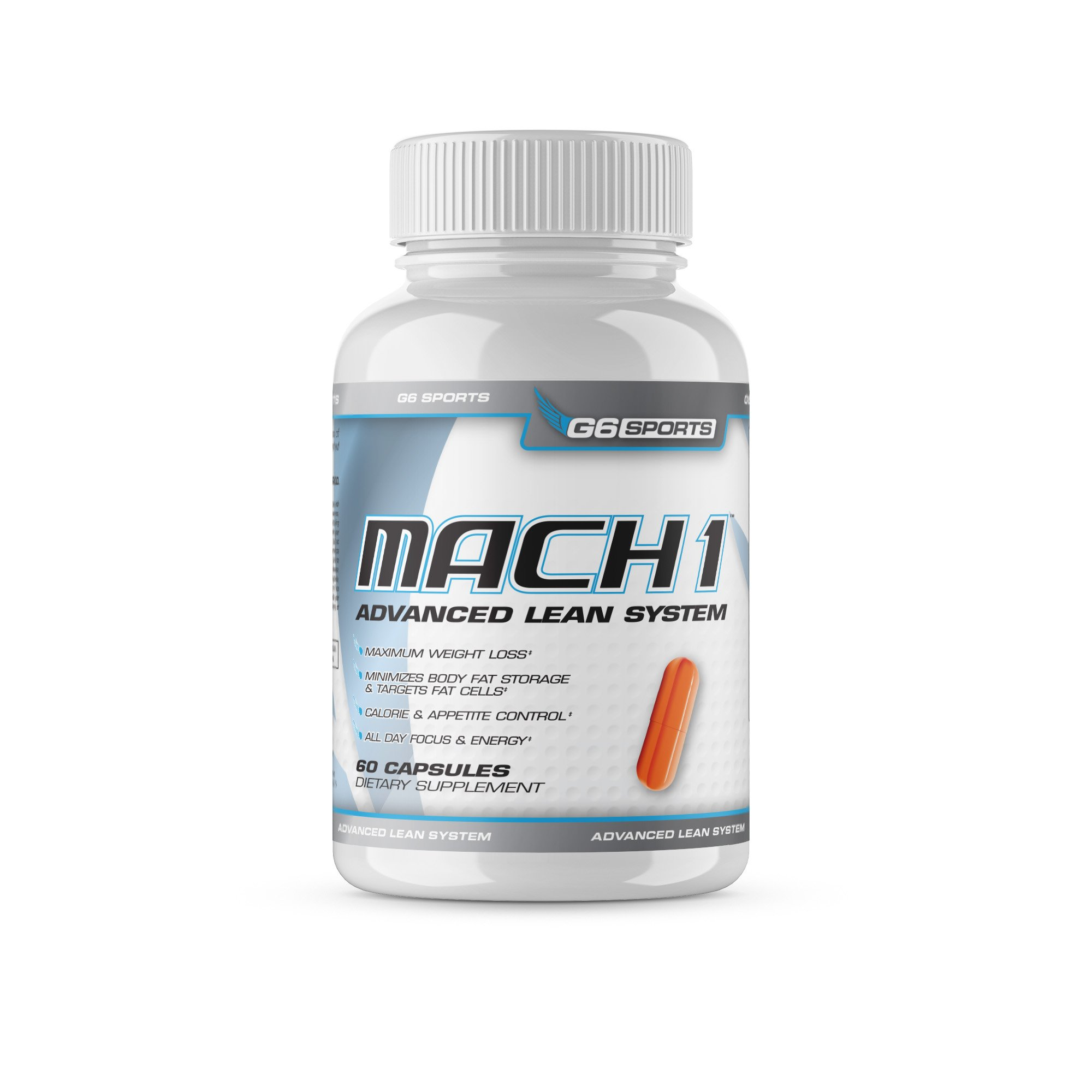 G6 Sports Nutrition Mach 1 Advanced Lean System (Patented Ingredients, Target Fat Cells, No Crash or Jitters) - 60 Capsules