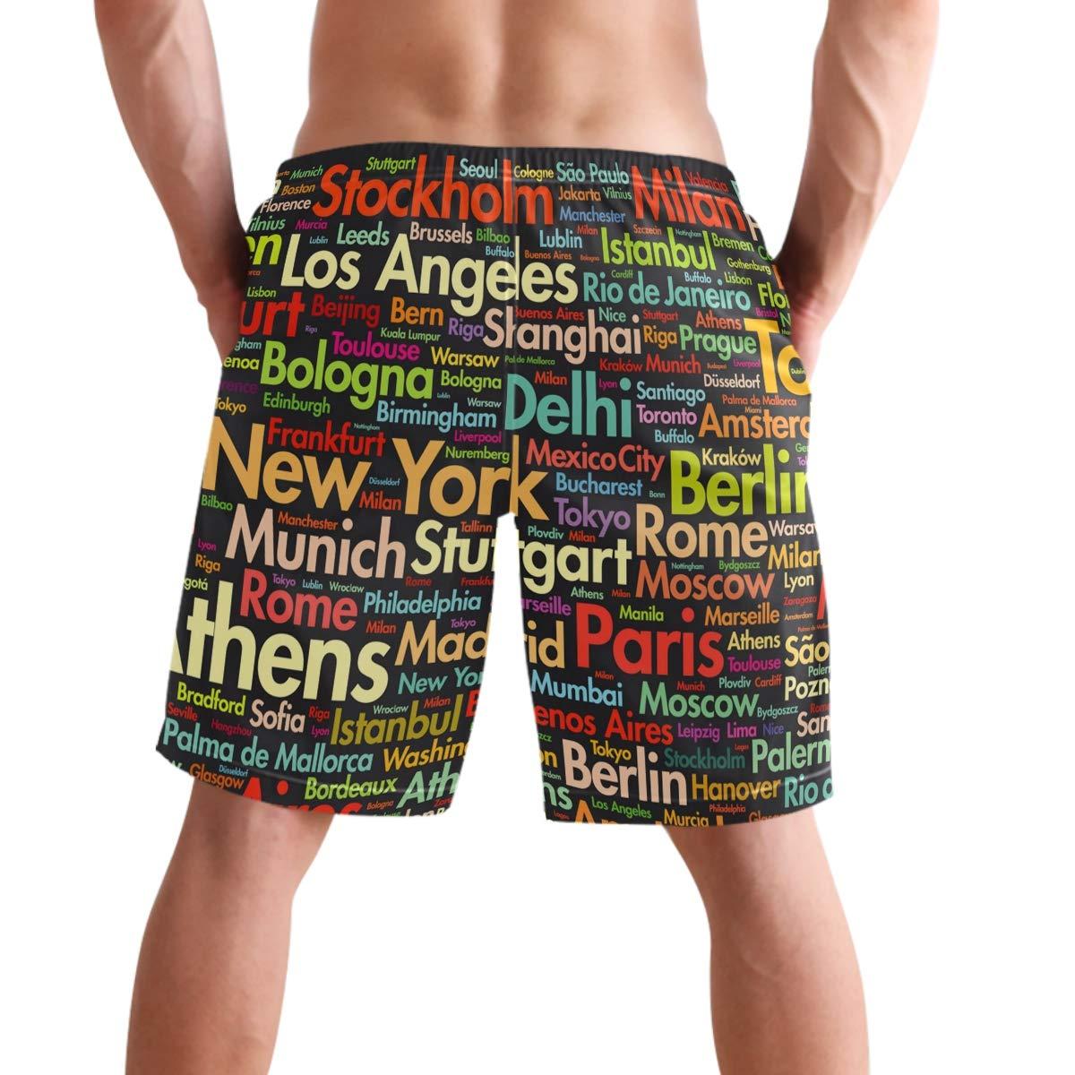 Amazon.com: visesunny Funny City Name Letter Print Men Beach ...