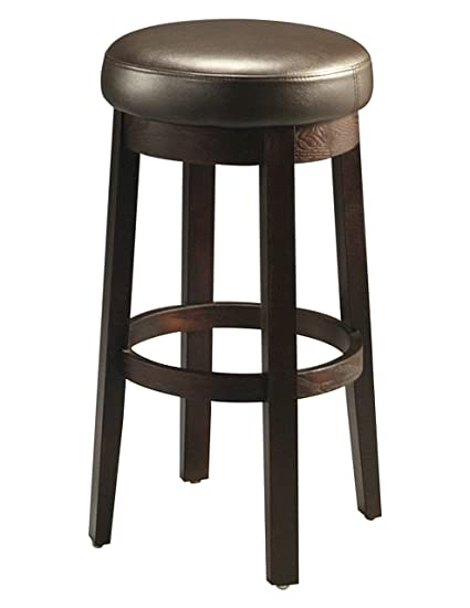 Amazoncom Plutus Brands Backless Barstool In Kerkyra Brown Wood