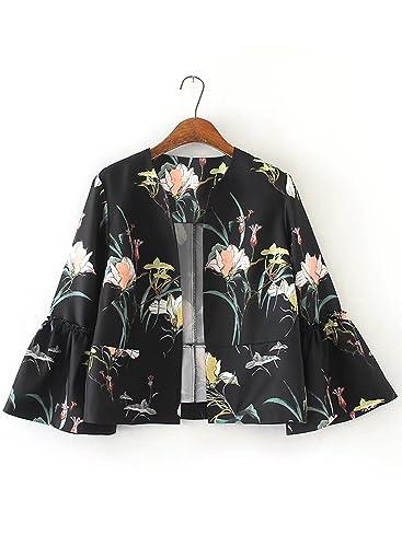 Azbro Mujer Chaqueta con Estampado Floral con Mangas de Llamarada,negro M