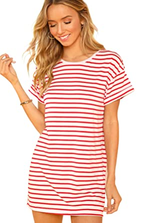 sneakers how to serch big collection Floerns Women's Striped Short Sleeve Loose Swing T-Shirt ...