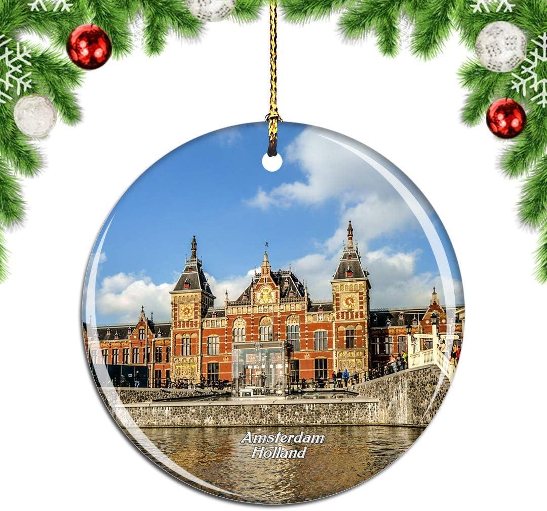 Weekino Holland Centraal Station Amsterdam Weihnachtsdekoration Christbaumkugel H/ängender Weihnachtsbaum Anh/änger Dekor City Travel Souvenir Collection Porzellan 2,85 Zoll