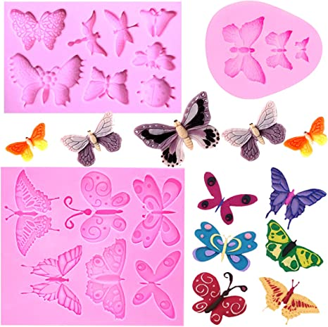 Silicone Fondant Butterfly Mold Cake Decor DIY Chocolate Baking Mould Tool Pink