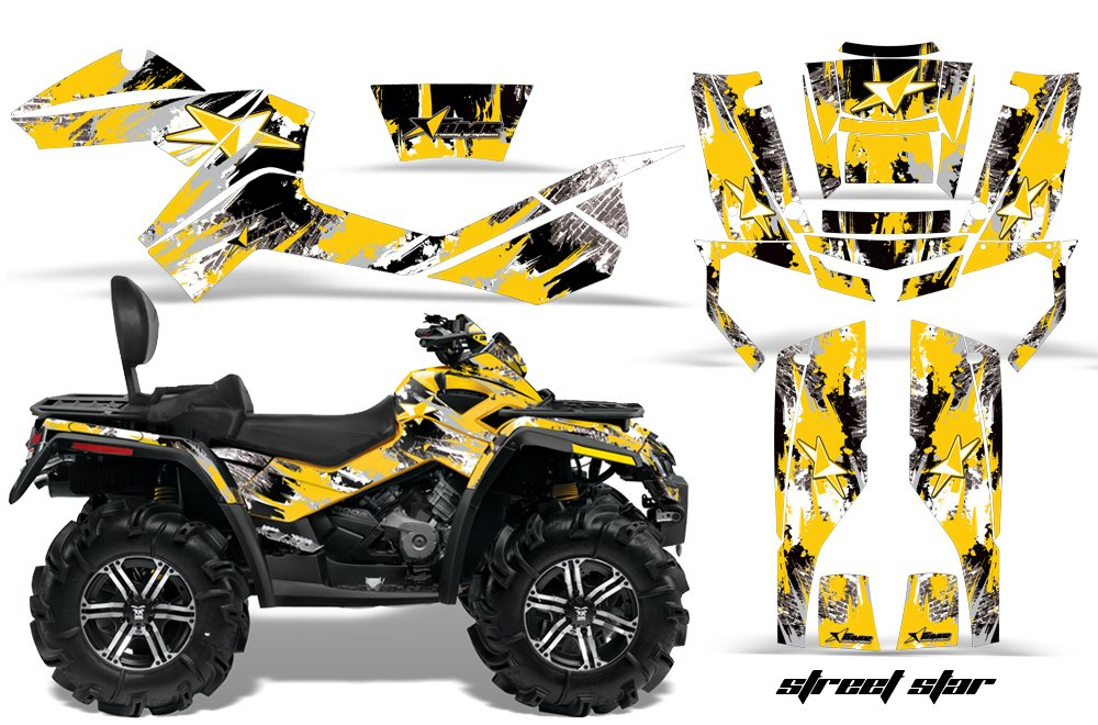 AMR Racing Graphics Can - Am Outlander MAX 500 650 800r 2006 – 2012 ATVビニールラップキット – Street Starイエロー B01N6OVEVU