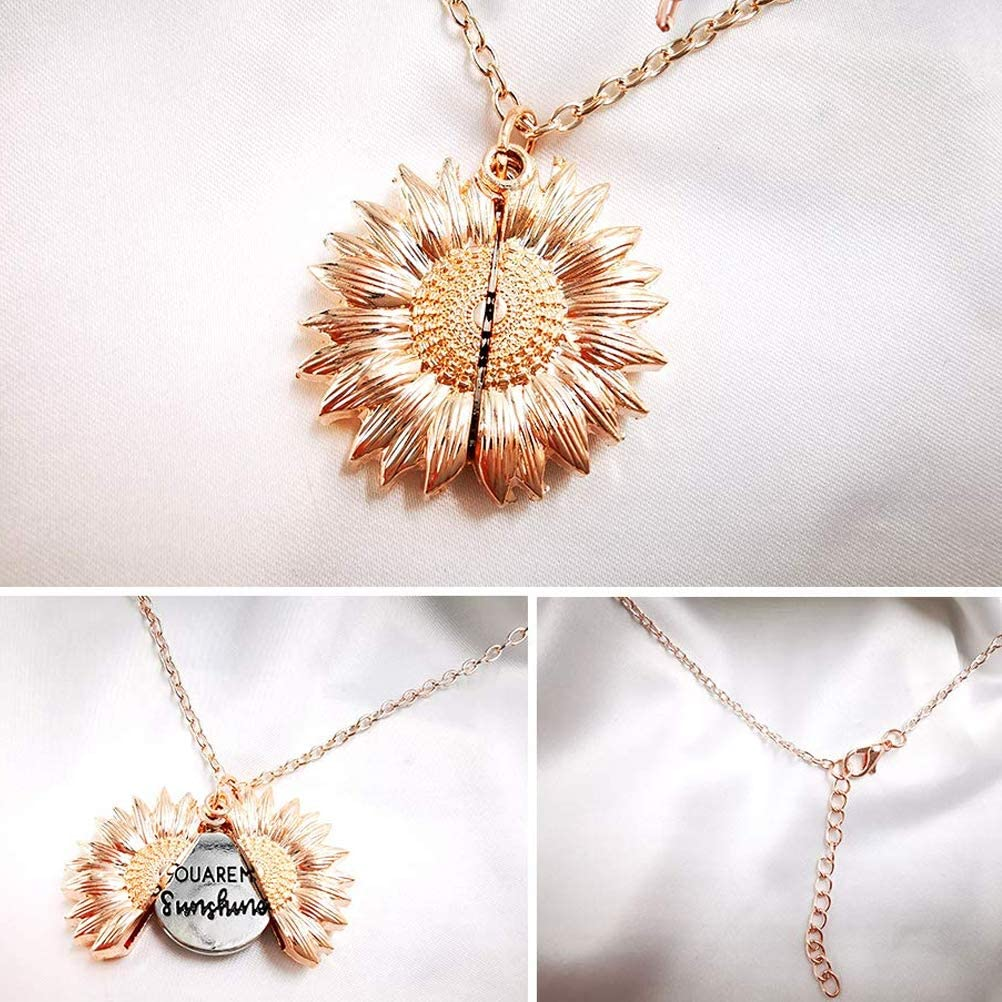 FKELSNS My Sunshine Sunflower Necklace Rose Gold Sunflower Necklace You Are My Sunshine Rose Are Rose Necklace Choker Girlfriend Locket Locket