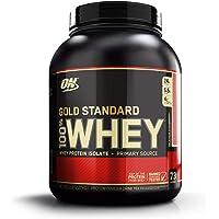 Optimum Nutrition Gold Standard Whey Protein Pulver (mit Glutamin und Aminosäuren. Eiweisspulver von ON) Delicious Strawberry, 77 Portionen, 2,27kg