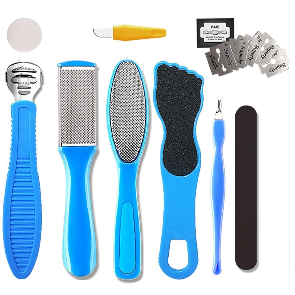 Professional Foot File, Foot Care 9 in 1 Pedicure Tools Pedicure Kit Foot Rasp and Callus Remover Stainless Steel Pedicure sets for Cracked, Dead Skin Cells, Home Pedicure Hafone direct