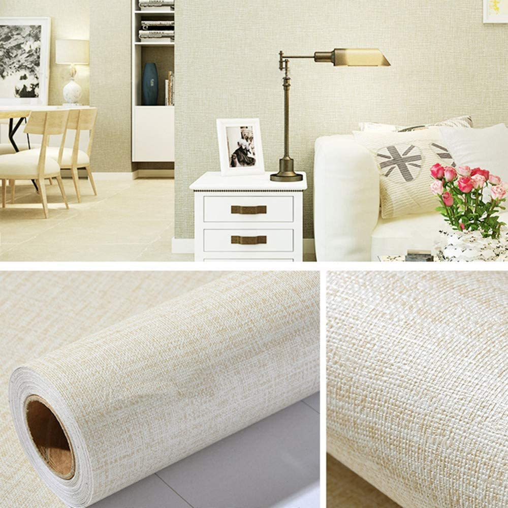 Beige Linen Contact Paper PVC Self-Adhesive Peel and Stick DIY Wallpaper Faux Imitation Cloth Vinyl Film Wall Sticker Solid Color Decorate Furniture Bedroom (15.7 in X 118 in)