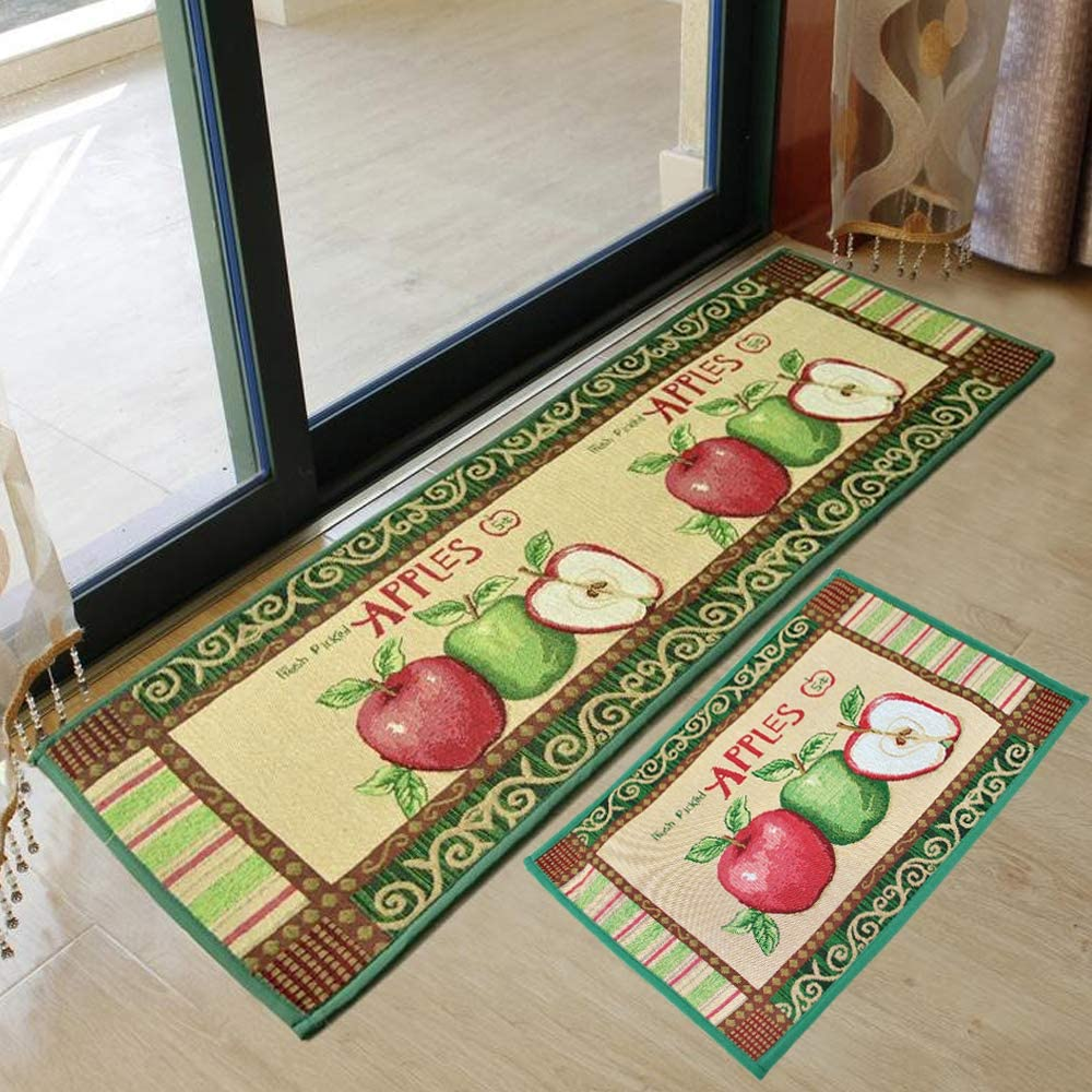 yazi Fabric Kitchen Mat Area Rug Fresh Picked Apples,47x18 Inches and 23x18 Inch, Vintage Apples Jacquard Cotton Fiber Rectangular Bedroom Floor Mat Doormat