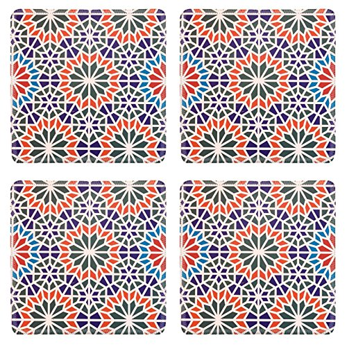 Luxlady Square Coaster Morocco tiles background textures IMAGE 38547192 Customized Art Home Kitchen