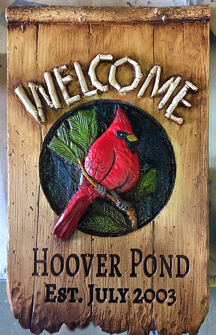 Welcome Cardinal Yard Sign Personalized with Name or Address by Piazza Pisano