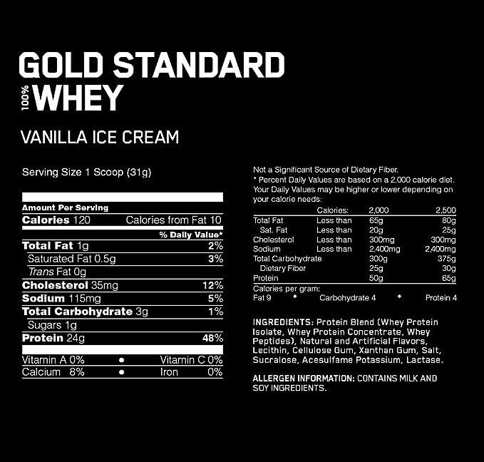 Optimum Nutrition Gold Standard 100% Whey Proteína en Polvo, Helado de Vainilla - 4540 g: Amazon.es: Salud y cuidado personal