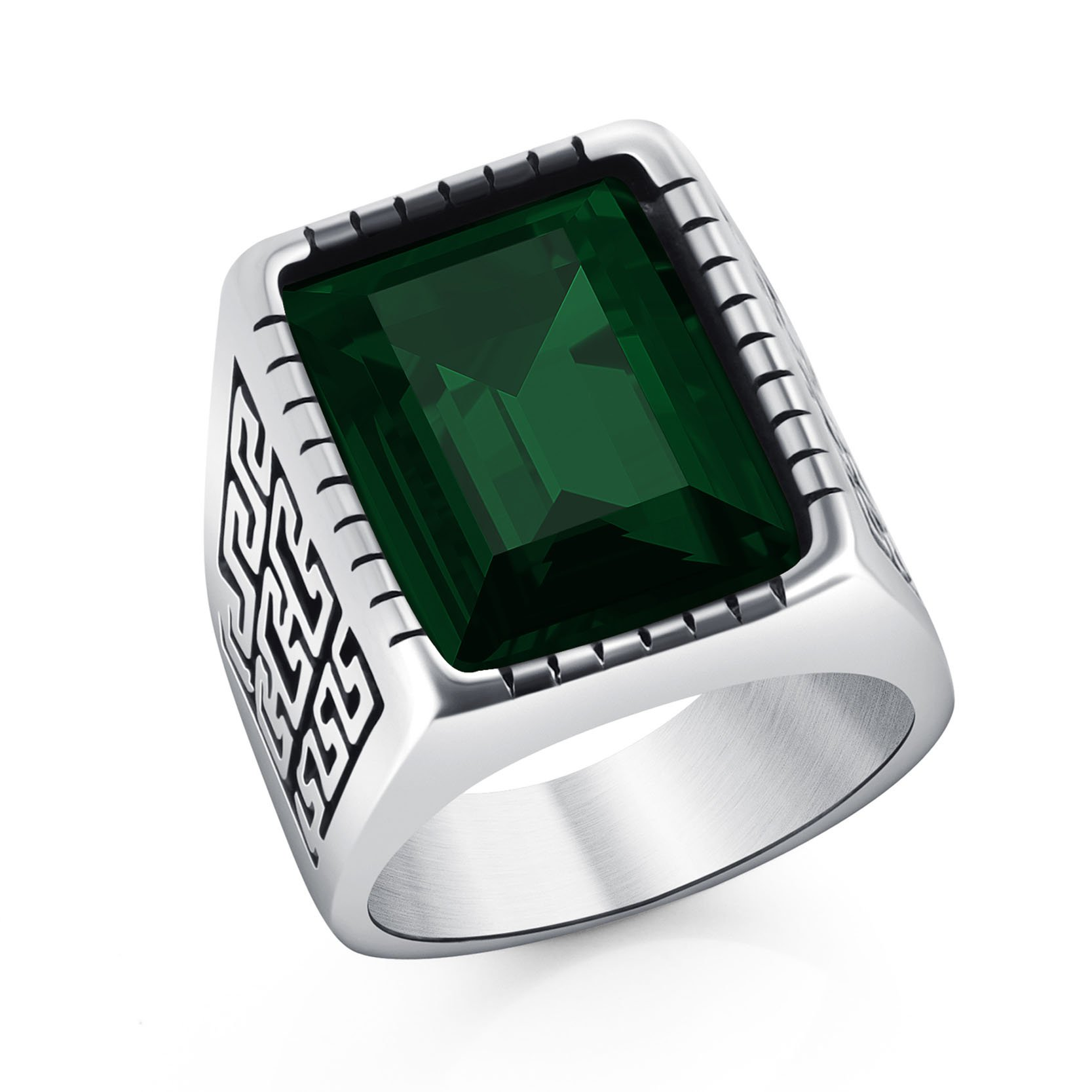 Retro Great Wall Pattern Stainless Steel Vintage Green Square Gemstone Ring for Boys Size 9