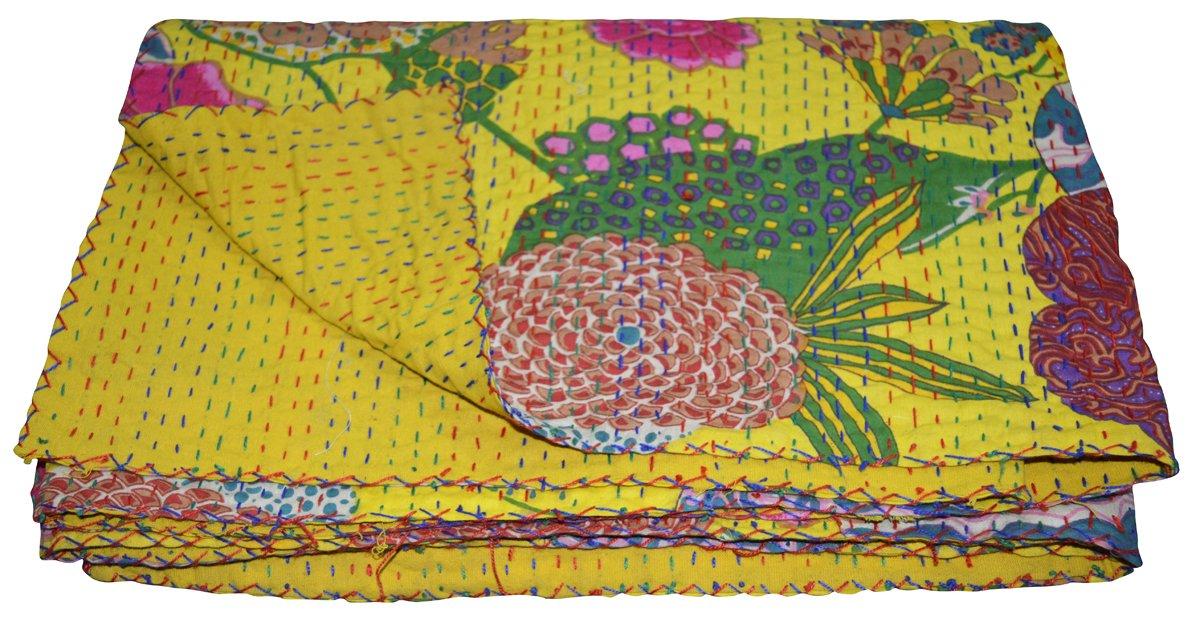 Indian Handmade Pink Fruit Queen Size Reversible Kantha Quilt Ethnic Bedspread