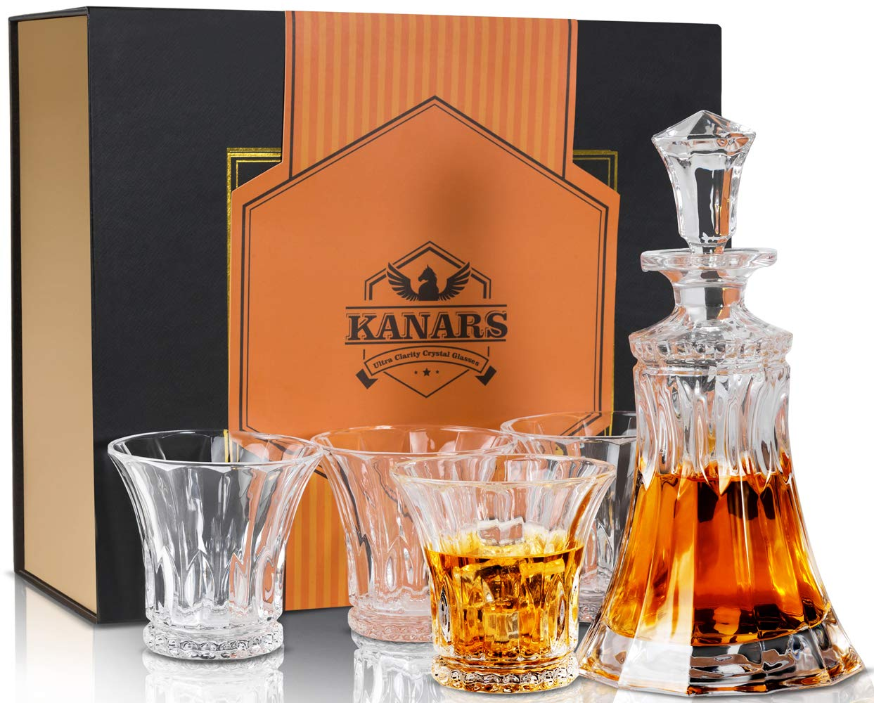 KANARS King Whiskey Decanter And Glasses Set. Ultra Clear Crystal Liquor Decanter With 4 Glasses For Scotch Or Bourbon - Luxury Gift Box - 5-Piece