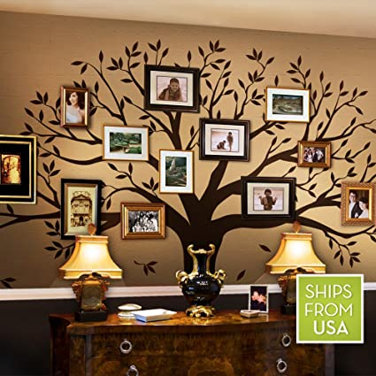 Beautiful Family Tree Wall Decal By Simple Shapes (Chestnut Brown, Standard Size: 107  X