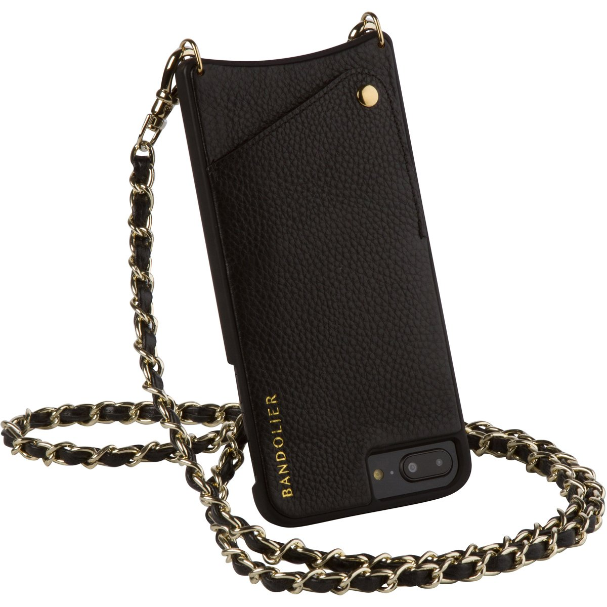 Bandolier [Lucy] Crossbody Phone Case and Wallet - Compatible with iPhone 8/7/6 - Black Leather with Gold Accent