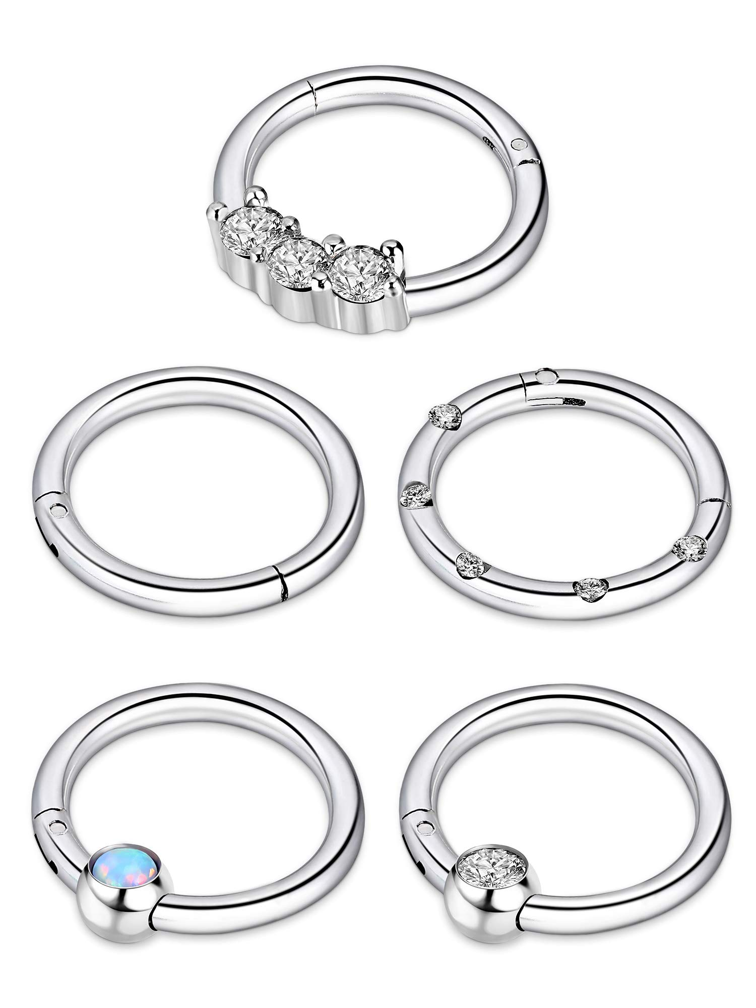 BBTO 5 Pieces 16G Stainless Steel Hinged Ring Nose Ring Opal Crystal CZ Nostril Lip Ear Piercings, 5 Styles (Silver)