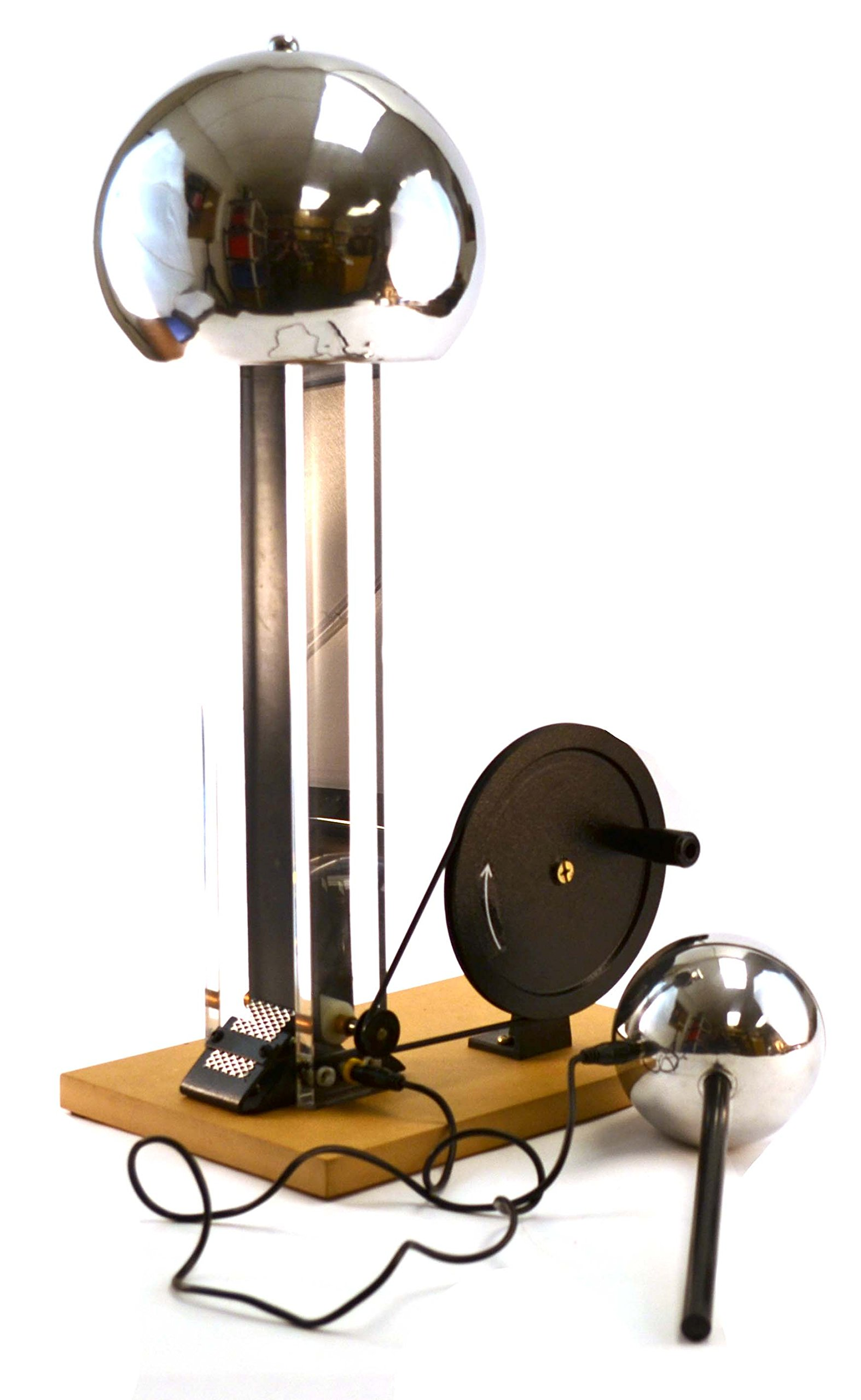 Hand Crank Van De Graaf Generator, up to 100kV, 7.5'' Dome, 4'' Discharge Sphere, 22'' Tall by EISCO