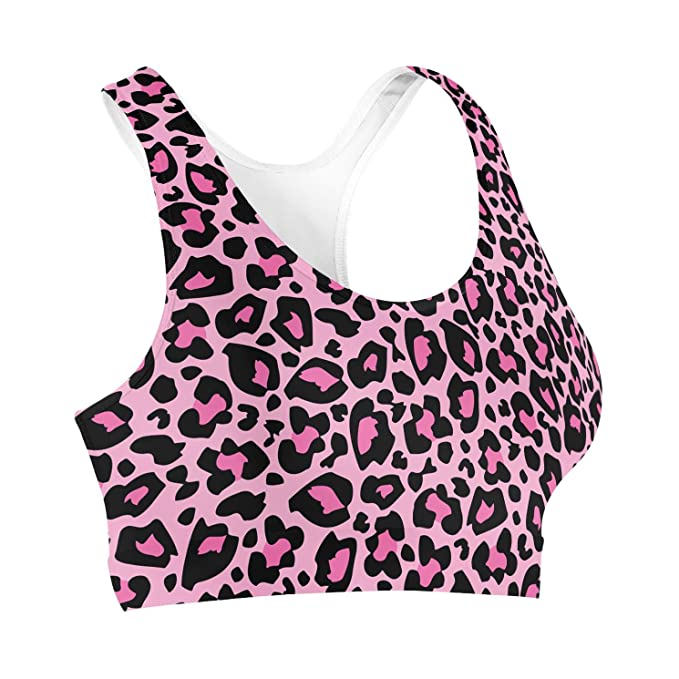 Estampado de leopardo brillante rosa sujetador deportivo: Amazon.es: Ropa y accesorios