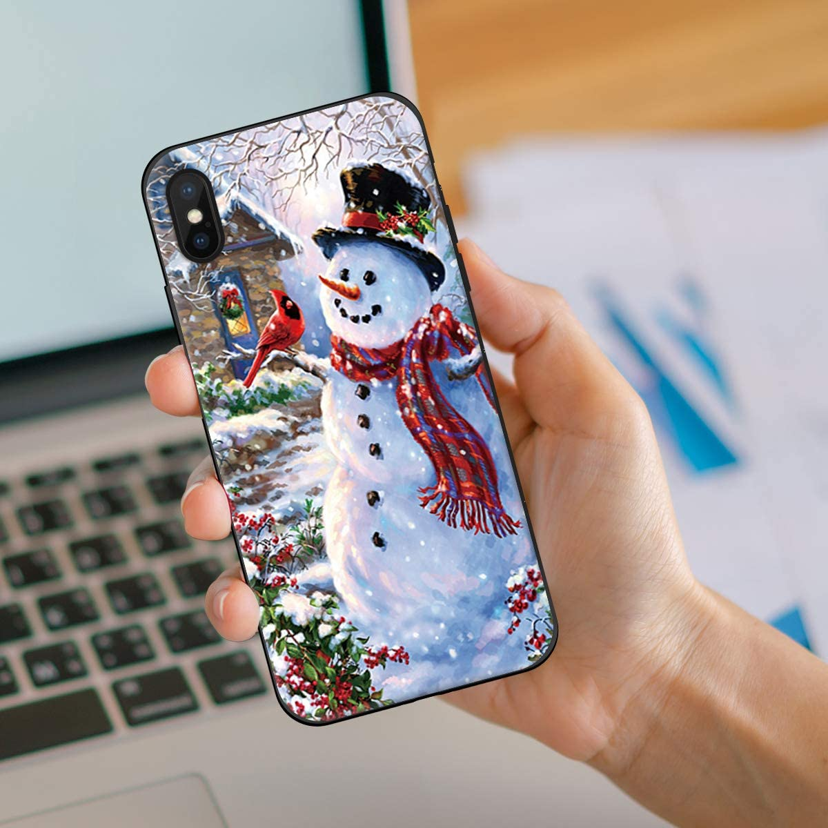 for iPhone 7 Puls Case, iPhone 8 Plus Case, Soft Silicone Gel Rubber Bumper Case Merry Christmas Happy Snowman and Cardinals Decorative Xmas New Year Holiday Pattern Shockproof TPU Case Phone Cover