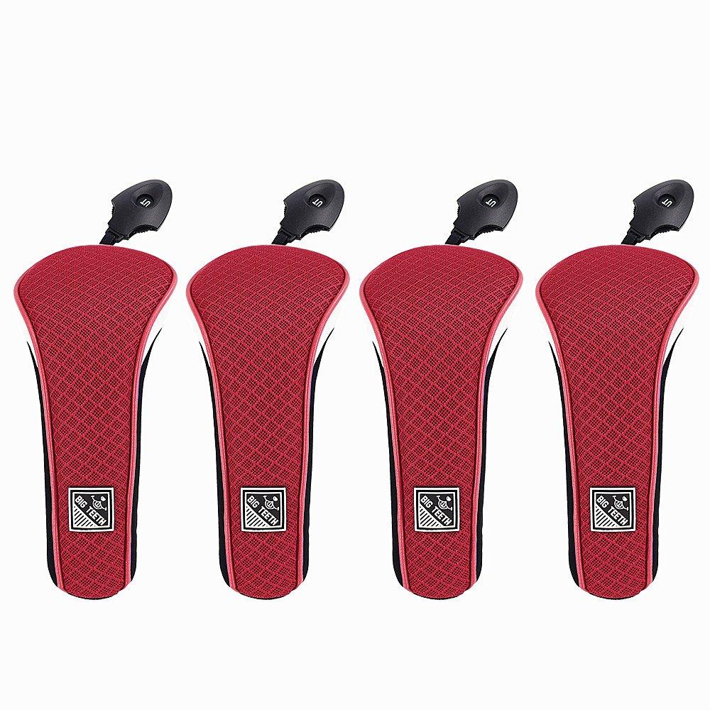 ビッグ歯アップグレード軽量メッシュゴルフハイブリッドヘッドカバーセットRescueユーティリティクラブx12プロテクター、交換可能な番号タグ B0785VPPW8 4pcs(Red) 4pcs(Red)