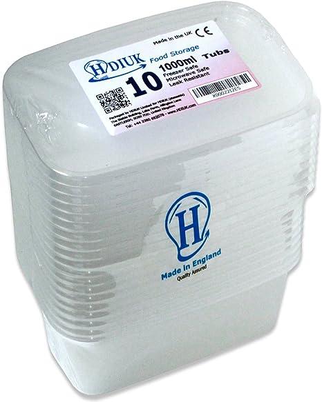 Pack de 10 fiambreras HDIUK, de plástico y con tapa, aptas para congelador y microondas, plástico, 10 X-Large 1000ml: Amazon.es: Hogar