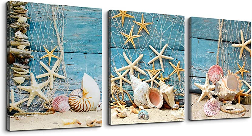 Amazon Com Canvas Wall Art For Bedroom Bathroom Wall Decor Blue Themes Inspirational Contemporary Artwork Shell Starfish Nets Canvas Prints 12 X 16 3 Pieces Framed Modern Home Decoration Living Room Office Art