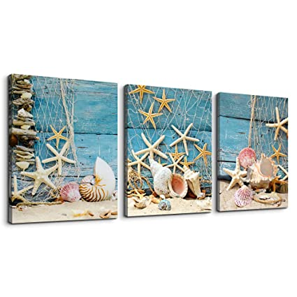 . Canvas Wall Art for Bedroom Bathroom wall Decor Blue Themes inspirational  Contemporary Artwork shell starfish nets Canvas Prints 12  x 16  3 Pieces