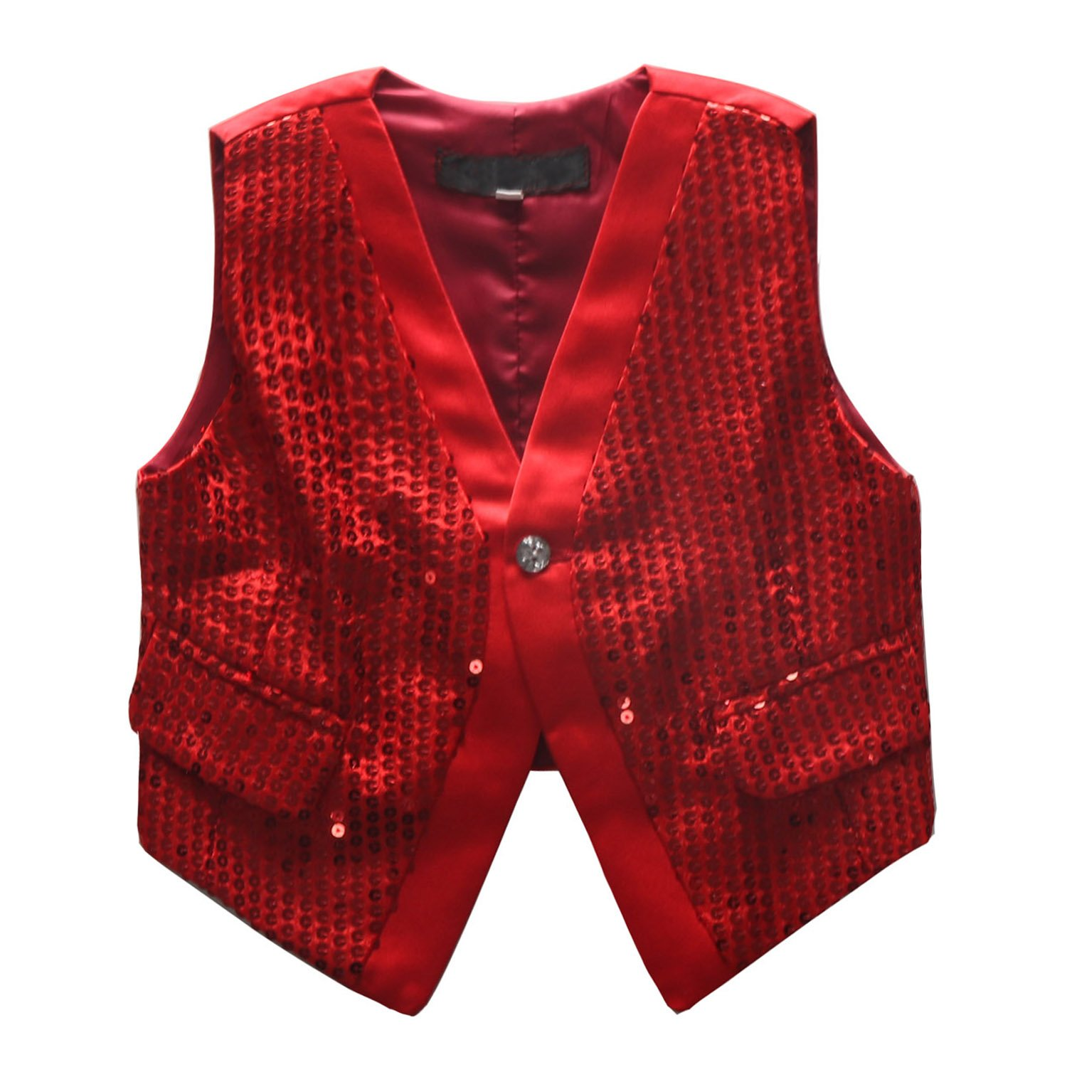 Coodebear Boys' Girls' Lined False Pockets Buttons V Collar Stage Performance Sequins Vests