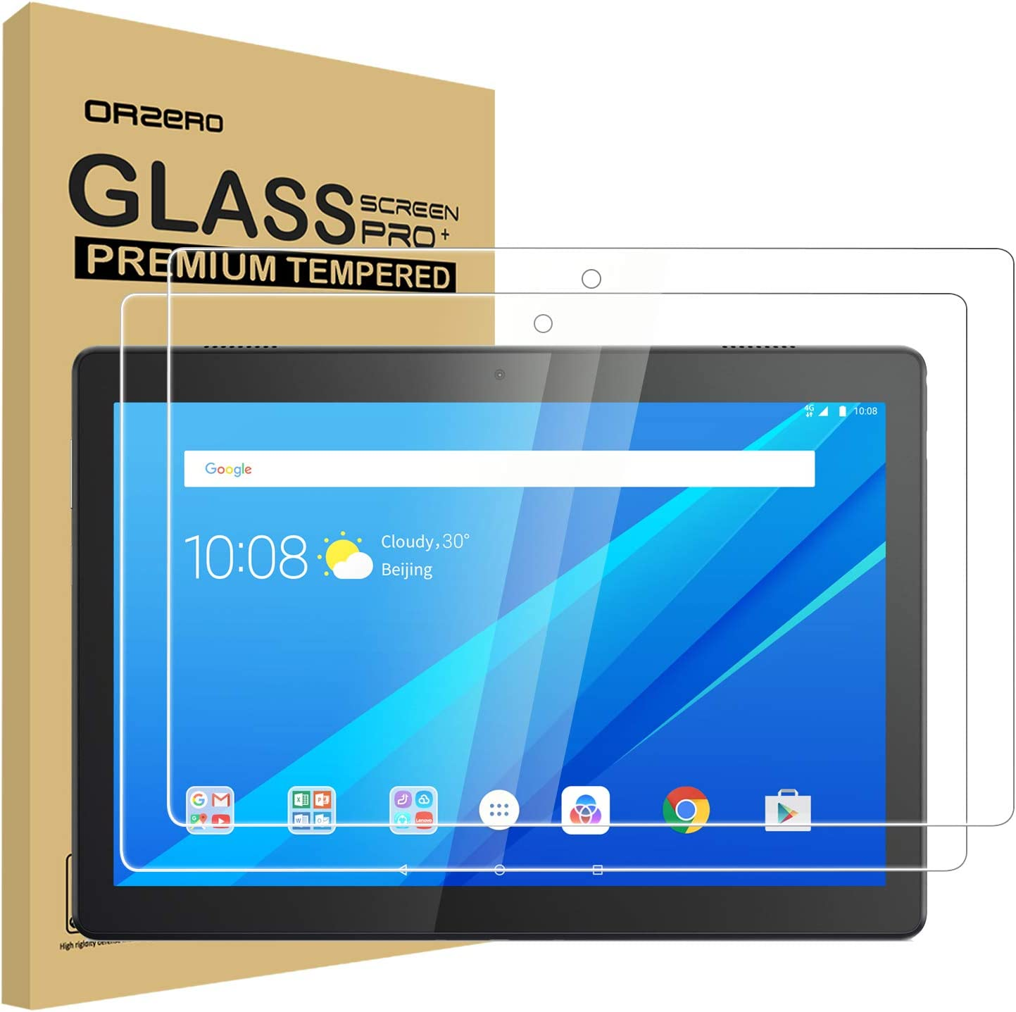 (2 Pack) Orzero Tempered Glass Screen Protector Compatible For Lenovo Smart Tab M10, 9 Hardness HD Anti-Scratch Bubble-Free High-Definition (Lifetime Replacement)