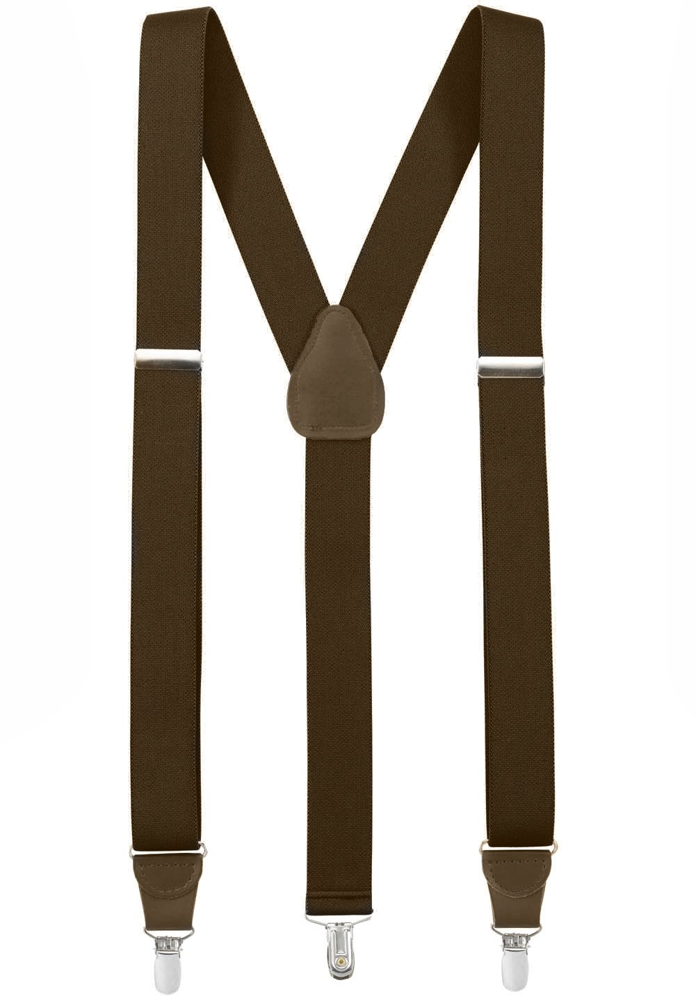 Hold'Em Suspender for Men Made in USA Y-Back Genuine Leather Crosspatch Clip on tuxedo suspenders - Brown (Regular - 46'')